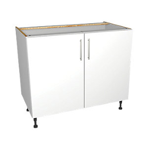 Wickes Orlando White Gloss Slab Base Unit - 1000mm