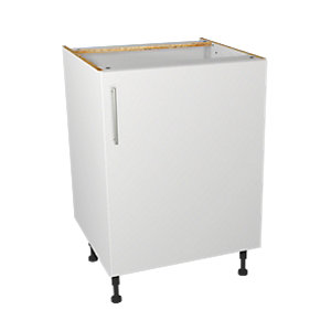 Wickes Orlando White Gloss Slab Base Unit - 600mm
