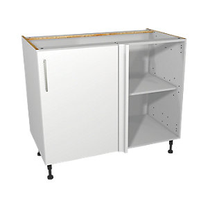 Wickes Orlando White Gloss Slab Corner Base Unit - 1000mm