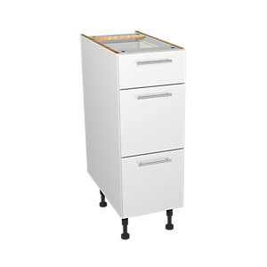 Wickes Orlando White Gloss Slab Drawer Unit - 300mm