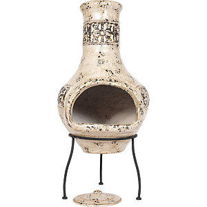 La Hacienda Fresco Hand Painted Outdoor Chimenea Mocha