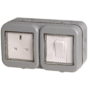 Masterplug 13A Single Exterior Unswitched Socket & Switch - Grey