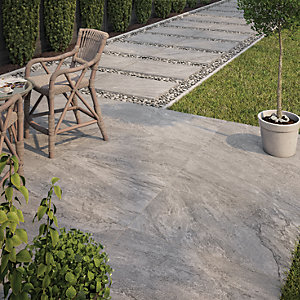 Wickes Botany Grey Outdoor Porcelain Tile 900 x 600mm