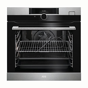 AEG Steam Boost Single Electric Pyrolitic Stainless Steel Steam Oven BSK882320M