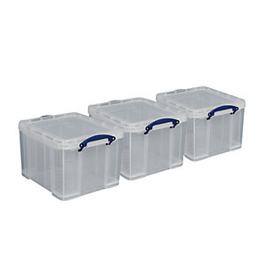 Really Useful Clear Storage Crates - 33.5L Pack of 3
