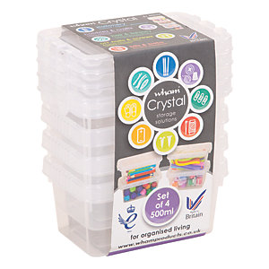 Wham Crystal Storage  Box with Lid - 500ml Pack of 4