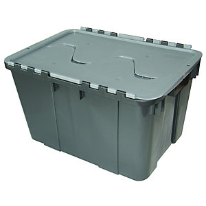 Wickes Grey Shatterproof Storage Crate - 55L