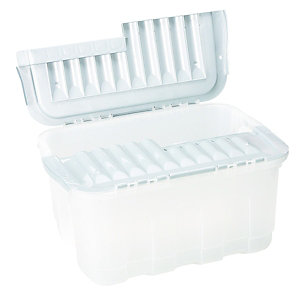 Wickes Grey Storage Crate with Inter-locking Lid - 49L