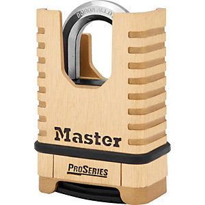 Master Lock Proseries 1177D 4 Digit Resettable Shrouded Shackle Padlock - Brass 57mm