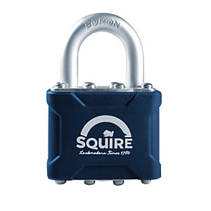 Squire Hardened Steel Shackle Laminated Padlock with Fixings - 38mm