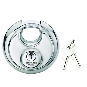 Wickes Disc Padlock Stainless - Steel 70mm