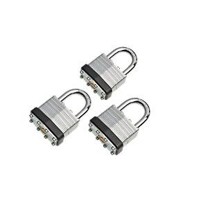 Wickes Laminated Padlock - 40mm Pack of 3