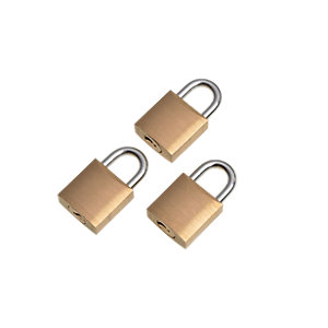 Wickes Padlock - Brass 20mm Pack of 3
