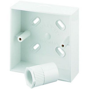 Wickes 1 Gang Pattress Box & Adaptor - White 32mm
