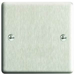 Wickes Single Raised Blanking Plate - Brushed Steel