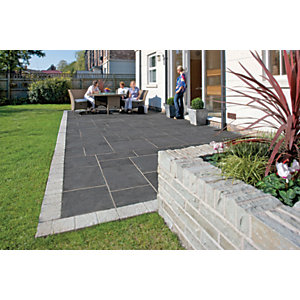 Marshalls Aluri Limestone Riven Charcoal Paving Slab Mixed Size - 11.25 m2 pack