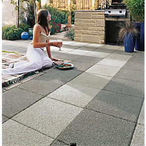 Marshalls Argent Coarse Light Grey Paving Slab 400 x 400 x 38 mm - 9.6m2 pack