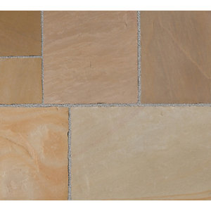 Marshalls Fairstone Riven Harena Golden Sand Paving Slab Mixed Size - 15.25 m2 pack