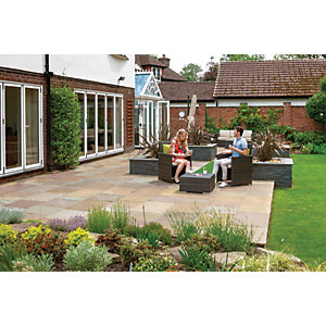 Marshalls Indian Sandstone Riven Buff Mixed Size Paving - 15.23 m2 pack