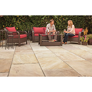 Marshalls Indian Sandstone Textured Brown Multi Paving Slab 560 x 560 x 25 mm - 20.07 m2 pack