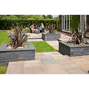 Marshalls Indian Sandstone Textured Brown Multi Paving Slab 845 x 560 x 15-25mm - Pack of 37
