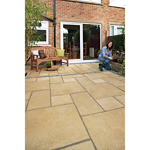 Marshalls Regent Riven Buff Paving Slab 300 x 300 x 35 mm - 5.4m2 pack