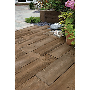 Marshalls Woodstone Textured Dark Brown Paving Slab 800 x 200 x 40 mm - 3.84m2 pack