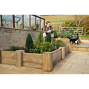 Marshalls Woodstone Textured Light Buff Paving Slab 800 x 200 x 40 mm - 3.84m2 pack