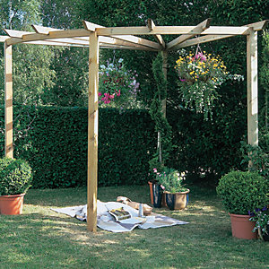 Forest Garden Radial Timber Pergola - 2.75 x 2.75m