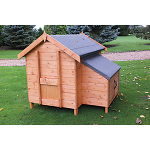 Shire Timber Apex Chicken Coop House Honey Brown - 4 x 4 ft