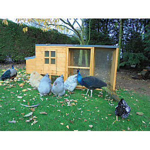 Shire Timber Pent Chicken Coop & Run Honey Brown - 7 x 3 ft