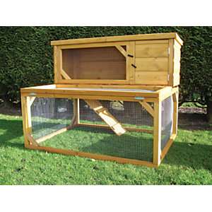 Shire Timber Pent Pet House & Drop Run Honey Brown - 4 x 3 x 3 ft