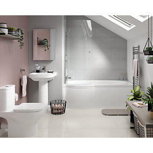 Phoenix Bathroom Suite - Toilet, Basin, Left-hand Shower Bath, Screen & Bath Panel