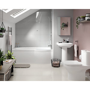 Phoenix Bathroom Suite - Toilet, Basin, Right-hand Shower Bath, Screen & Bath Panel