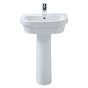 Wickes Phoenix Ceramic Basin with Full Pedestal - 600mm