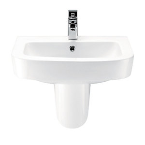 Wickes Phoenix Ceramic Square Basin with Semi Pedestal - 600mm