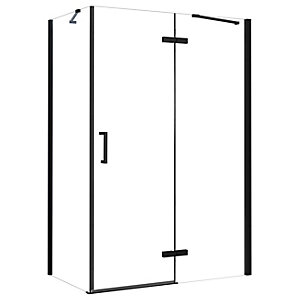 Nexa By Merlyn 8mm Frameless Black Inline Hinge Enclosure For Recess - 1200mm