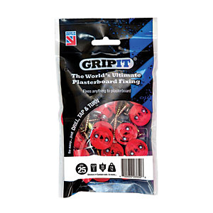 GripIt 16mm Plasterboard Fixing - 5 x 30mm Pack of 25