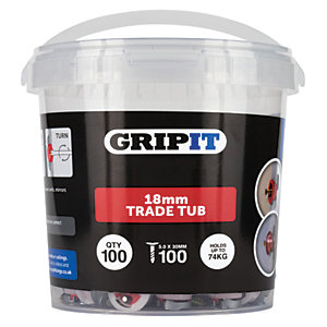 Gripit 18mm Red Grip It - Pack of 100