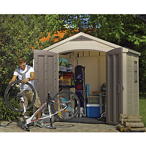 Keter Double Door Plastic Apex Shed with Roof Light & Shelves - 8 x 6 ft