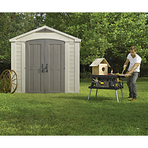 Keter Factor Plastic Double Door Shed - 8 x 8 ft Best Price, Cheapest Prices