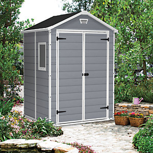 Keter Manor Double Door Plastic Shed Grey - 6 x 5 ft Best Price, Cheapest Prices