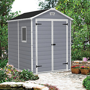 Keter Manor Double Door Plastic Shed Grey - 8 x 6 ft Best Price, Cheapest Prices