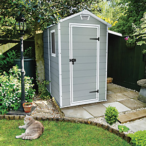 Keter Manor Plastic Shed Grey - 6 x 4 ft Best Price, Cheapest Prices