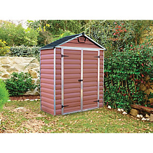 Palram 6 x 3 ft Back to Wall Amber Double Door Plastic Shed with Skylight Roof Best Price, Cheapest Prices