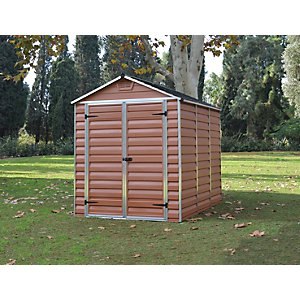 Palram 6 x 8 ft Amber Double Door Plastic Apex Shed with Skylight Roof Best Price, Cheapest Prices