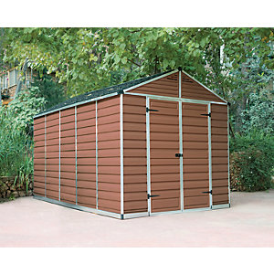 Palram 8 x 12 ft Skylight Plastic Apex Shed Amber Best Price, Cheapest Prices