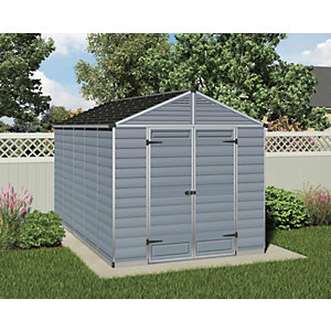 Palram 8 x 12 ft Skylight Plastic Apex Shed Grey Best Price, Cheapest Prices