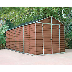 Palram 8 x 16 ft Skylight Plastic Apex Shed Amber Best Price, Cheapest Prices