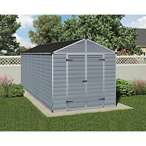 Palram 8 x 16 ft Skylight Plastic Apex Shed Grey Best Price, Cheapest Prices